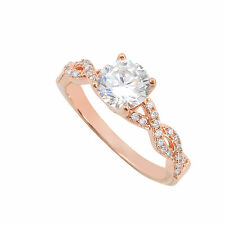 Sterling Silver Rose Gold Plated 7mm Round Brilliant CZ Solitaire Ring