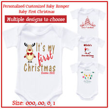 Personalised Baby Newborn Romper Bodysuit - First Christmas Photo shot