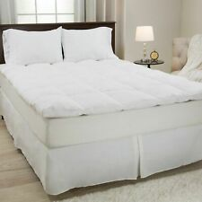 Lavish Home 100% Duck Feather Gusset Bed Topper 2 Inches Baffle Box