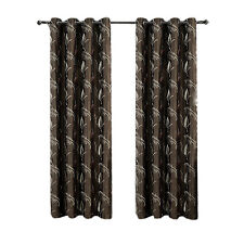 Set of 2 Olivia Chocolate Embroidered Lined Grommet Window Curtain Panels