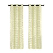 Set of two Jacquard Blackout Thermal Insulated Ivory Willow Window Curtains