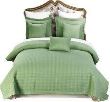 Sage Luxury Checkered Quilted Wrinkle Free Coverlets Set