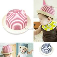 Children Kids Stripes Sun Cap Baby Girl Boys Beach Bucket Lollipop Straw hat U60