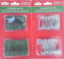 "HOLIDAY ORNAMENT HOOKS Hangers 300 Ct 150 ea 1.5""&1.75"" SELECT: Silver or Green"