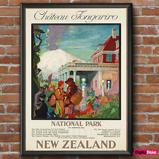 New Zealand Chateau Tongariro Vintage Poster Print -A3/A4 FREE UK P&P