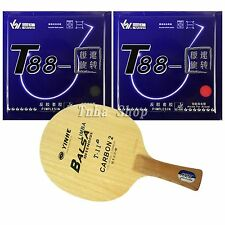 Galaxy T-11+Blade with 2x Sanwei T88-Top speed Rubbers for a table tennis Racket