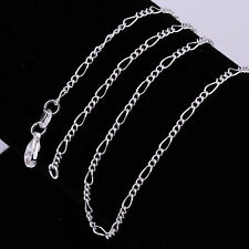 New 925 Sterling Silver Plated Chain Figaro Necklace h 2mm Snake Pendant Gift
