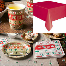 Christmas Festive Noel Tableware Plates Cups Napkins Table cover Set