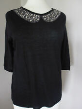 Brand New Ex M&S Mock Peter Pan Collar Embellished Top Sizes 8-10-12-14-16-18-20