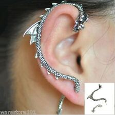 Silver Dragon Snake Ear Cuff Wrap Clip Lure Stud Earring Gothic Punk Gift - UK