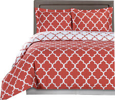 Coral & White 100% Cotton Duvet Covers, Printed Meridian Reversible Duvet Cover