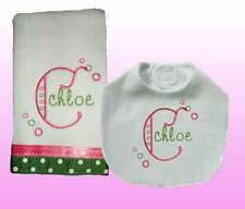 New Personalized Handmade Embroidered Baby Girl Pink Bib Burp Cloth Set Gift