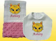 New Handmade Personalized Baby Girl Pink Cat Applique Bib Burp Cloth Set