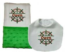 New Handmade Green Embroidered Personalized Baby Boy Nautical Bib and Burp Cloth