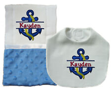 New Handmade Embroidered Personalized Blue Baby Boy Nautical Bib and Burp Cloth