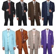 Men's High Fashion 4 Button Poplin Dacron Suit with Pants and Paisley Vest 6903
