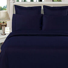 Navy 100%  Egyptian Cotton & 600 Thread count Solid Duvet Cover Set