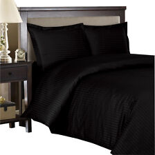 Black 100% Cotton & 600 Thread count Sateen Striped Duvet Cover Set
