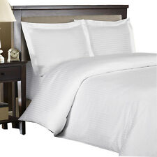 White 100% Cotton & 600 Thread count Sateen Striped Duvet Cover Set