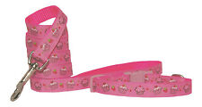 "handmade "" hot pink strawberry cupcake ""small dog/puppy collar & lead"