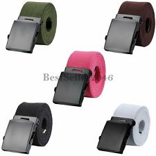 "Military Web Canvas Belt Mens Womens Silver Metal Slider Buckle 45"" Solid Color"
