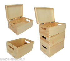 Plain Small Pine Wooden Storage Box / Trunk / Chest / Crate With Lid / Decoupage