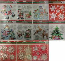 "3D METALLIC CHRISTMAS WINDOW STICKERS 7"" x 7""  SELECT: Santa Snowflakes Frosty"
