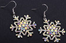 Snowflake dangle earrings Xmas Holiday jewelry gifts for women girls ED14