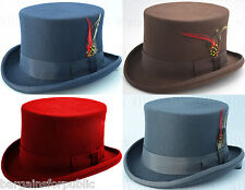 New Mens Ladies Unisex King 100% Wool Quality Hand Made Top Hat Size S M L XL