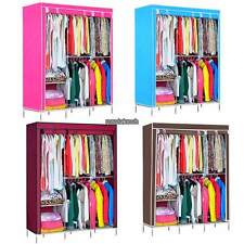 """Large 70"""" Clothes Wardrobe Closet Cabinet Armoires Steel Rack Bedroom Furniture"""