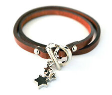"""Black or Brown Leather Wrap Bracelet with Silver Star Charm and Toggle Clasp 15"""""""