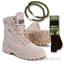 ARMY DESERT COMBAT PATROL BOOT SAND TAN BEIGE LEATHER SUEDE WITH SOCKS & TWISTS