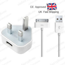 Genuine CE UK Mains Charger Wall Plug + USB Data Cable Adapter For iPhone iPAD