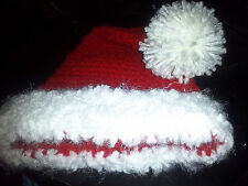 Handmade Crocheted Baby Beanie Santa Claus Hat Photo Prop All Sizes FREE SHIP!!