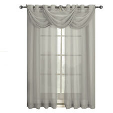 Single Abri Grommet Crushed Sheer Gray Color Window Curtain Panel