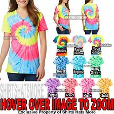 Ladies Tie Dye V-NECK Cotton T-Shirt Tye Die Womens XS, S, M, L, XL, 2XL 3XL 4XL
