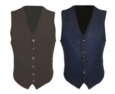 Mens Wool Tweed Slim Fitted Vest Waistcoat Brown, Grey, Navy Blue S M L XL​​