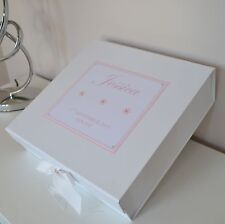 Large Girls Personalised Keepsake Memory Box Baby Birth Christening Birthday