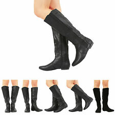 NEW WOMENS LADIES FLAT ELASTICATED MID CALF BOOTS SHOES SIZE 3-8