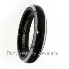 4mm Black IP Polish Dome Natural Bevel Edge Tungsten Carbide Ring Wedding Band