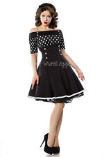Bardot Black and White Polka Dot Fit and Flare Vintage Style Retro Dress Pin Up