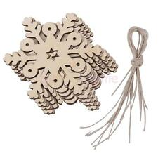 10x Snowflake Ornaments Christmas Holiday Party Home Decor Wood Embellishment
