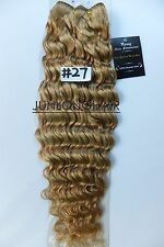 Deluxe Thick Virgin Curly/Deep Wavy Human Hair Extensions Weft Weave,#27 Blonde
