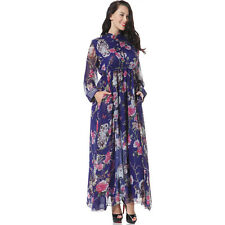 Plus size Love Longe Sleeve Baech Dress Owl Print Chiffon Bohemia Everyday dress