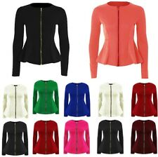 Zip Peplum Ruffle Winter Blazer Jacket Coat Top Size 6 8 10 12 14 16 18-26 *ZipJ