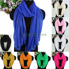 Fashion Womens Glitter Solid Color Soft Long Scarf Wrap Shawl/Infinity Scarf New