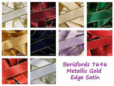 Gold Metallic Edge Satin Berisfords Ribbon 3mm 7mm 15mm 25mm 11 Shades Listed