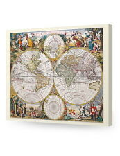 Antique World Travel Map wall art. Giclee print decoration Canvas Museum Wrapped