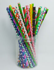 25 pcs Colored Paper Drinking Straws Festival Pattern Drinking Straws For Party
