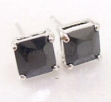 Men Black Clear Studs Earrings Simulated Diamond White Gold Plated 5 6 7 10 mm